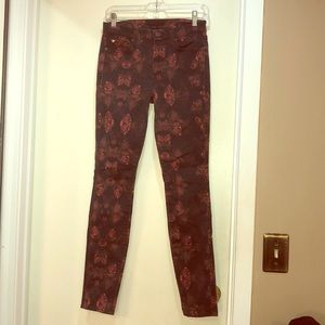 7 For All Mankind flowered skinny jeans